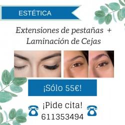 Extensiones de pestañas + Laminación de Cejas